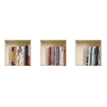 NISHA - Décoration Stickers Illusion 3D Bibliothèque 32cmx32cm - Lot de 3