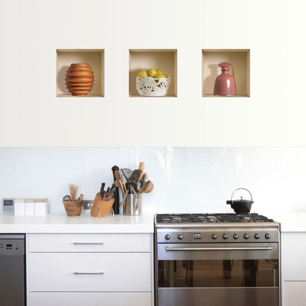 Nisha d coration stickers illusion 3d cuisine campagne for Deco cuisine 3d