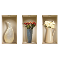 NISHA - Décoration Stickers Illusion 3D Vases à fleurs 22cmx42cm - Lot de 3