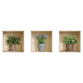 NISHA - Décoration Stickers Illusion 3D Pots de fleurs 32cmx32cm - Lot de 3