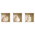 NISHA - Décoration Stickers Illusion 3D Statues blanches 32cmx32cm - Lot de 3