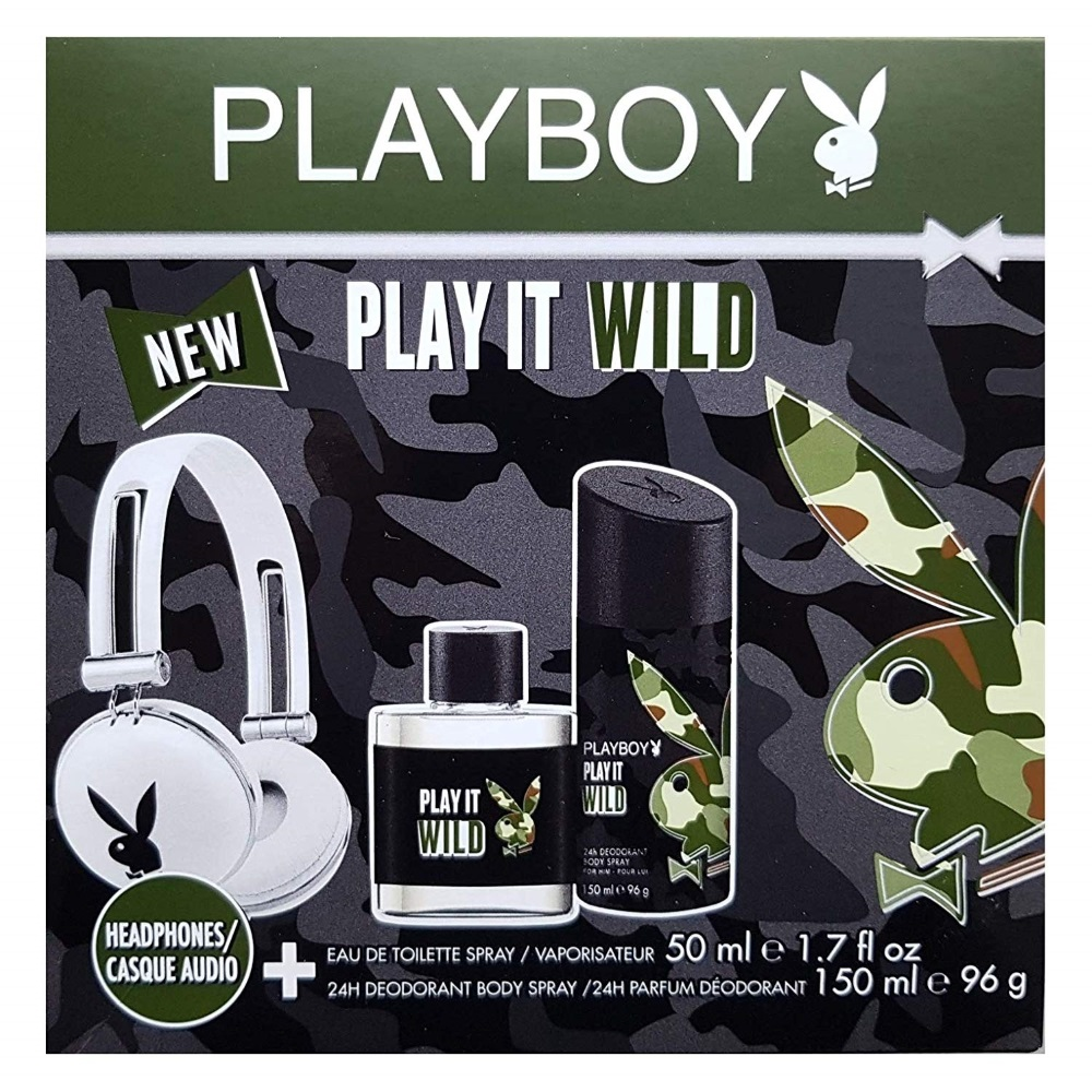 PLAYBOY - Coffret Eau de toilette 50 ml + Déodorant 24h 150 ml + Casque audio blanc - Play It Wild